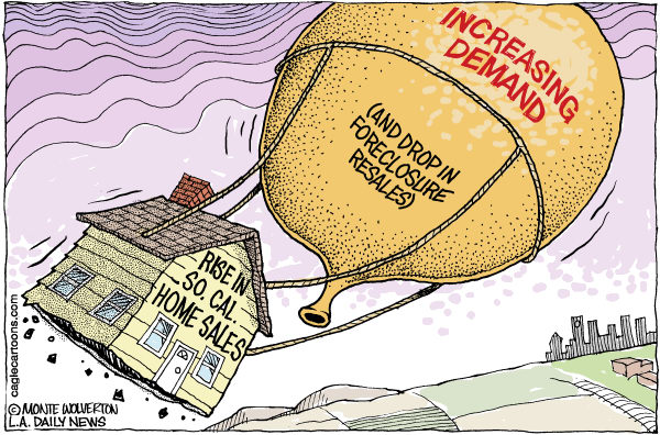 Wolverton - Cagle Cartoons - LOCAL-CA Rise in Home Sales COLOR - English - Real Estate, Home Sales, Housing, Housing Market, recovery