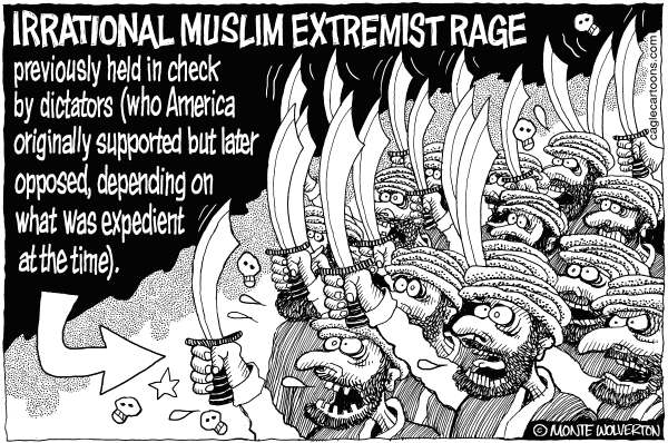 Wolverton - Cagle Cartoons - Muslim Extremist Rage - English - Muslims, Demonstrations, Islam, Innocence of Muslims, Protests, youtube, Muhammad