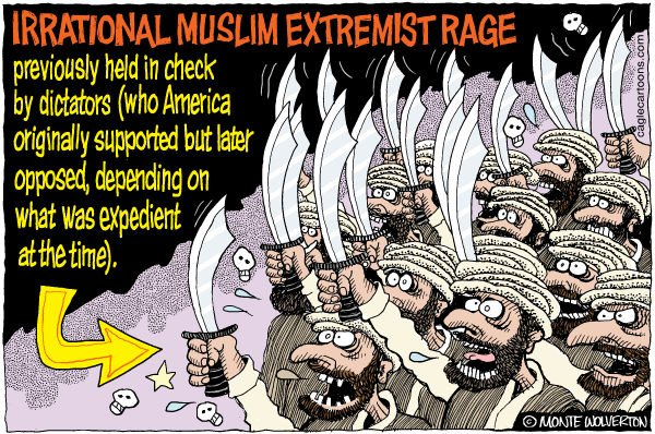 Wolverton - Cagle Cartoons - Muslim Extremist Rage COLOR - English - Muslims, Demonstrations, Islam, Innocence of Muslims, Protests, youtube, Muhammad