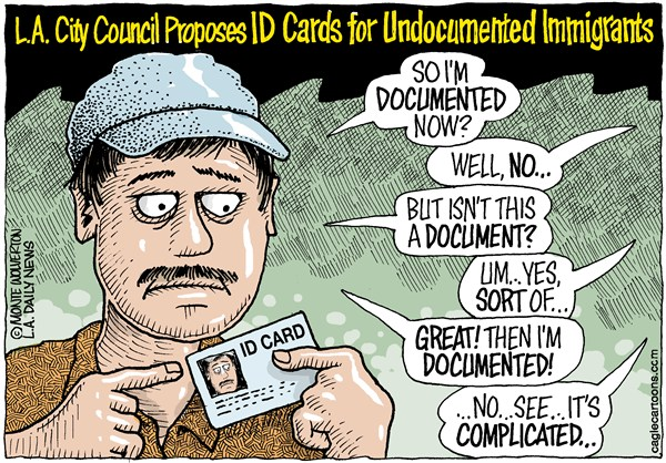 Wolverton - Cagle Cartoons - LOCAL-CA LA ID for Undoc Immigrants COLOR - English - Undocumented Immigrants, Immigrants, Mexican, Latino, Hispanit, Immigration, ID Cards, Los Angeles, City Council, Illegal immigrants