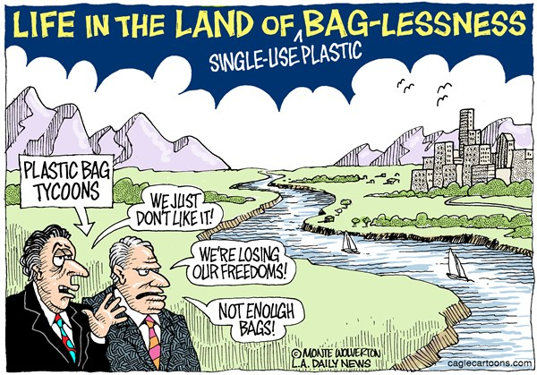 Wolverton - Cagle Cartoons - LOCAL-CA One-use plastic bag ban COLOR - English - Los Angeles, Plastic Bags, Bags, Single-use plastic bags, California, Environment