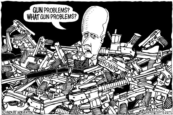 Wolverton - Cagle Cartoons - LOCAL-CA Jerry Brown Gun Denial - English - Gun control, Jerry Brown, California, Assault Weapons, Gun laws, NRA