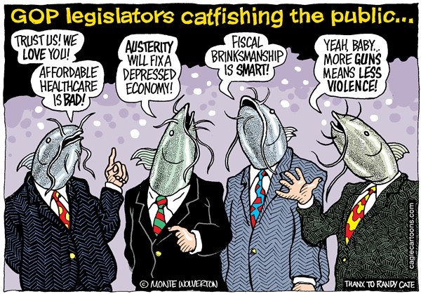 GOP Catfishing the Public © Wolverton,Cagle Cartoons,Republican,Gun Control,Austerity,Obamacare,Health,Debt Ceiling,,GOP