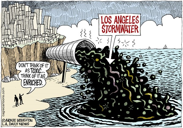 Wolverton - Cagle Cartoons - LOCAL-CA Los Angeles Stormwater COLOR - English - Los Angeles, Stormwater, Pollution, Ocean, Beaches, Toxic