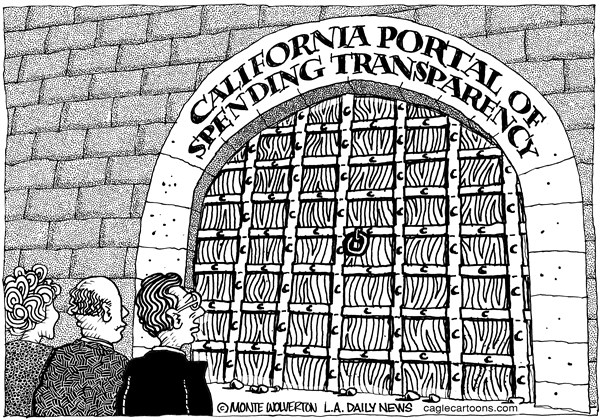 Wolverton - Cagle Cartoons - LOCAL-CA Spending Transparency - English - Spending,Taxes,no Transparency,Government,Jerry Brown,Brownm California State spending, door