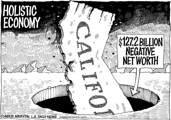 Wolverton - Cagle Cartoons - LOCAL-CA Negative Net Worth - English - Calfornia, Economy, Net Worth, Negative Net Worth, Finance, Brown