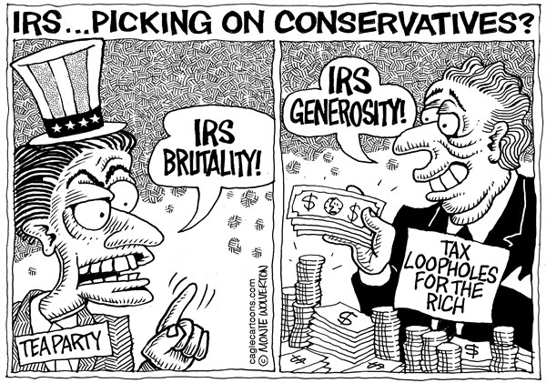 Wolverton - Cagle Cartoons - IRS Targets Conservatives - English - IRS,Tea Party,Conservative,GOP,Republican,targeting