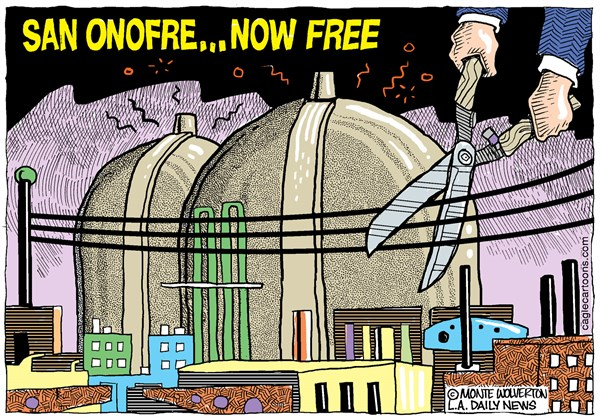 Wolverton - Cagle Cartoons - LOCAL-CA San Onofre Now Free COLOR - English - Nuke, Nuclear, Power, Energy, Electricity, Nuclear Power