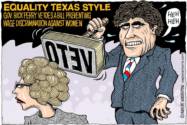 Wolverton - Cagle Cartoons - Rick Perry Vetoes Women COLOR - English - Perry, Rick Perry, Womens rights, Wage discrimination, employment, Texas, GOP, Republican