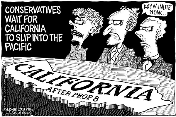 Wolverton - Cagle Cartoons - Calif doomed after prop 8 - English - GOP, Conservatives, DOMA, Proposition 8, Prop 8, Marriage, gay marriage
