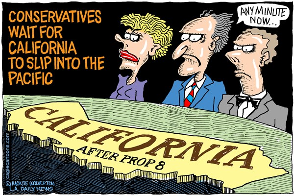 Wolverton - Cagle Cartoons - Calif doomed after prop 8 COLOR - English - GOP, Conservatives, DOMA, Proposition 8, Prop 8, Marriage, gay marriage