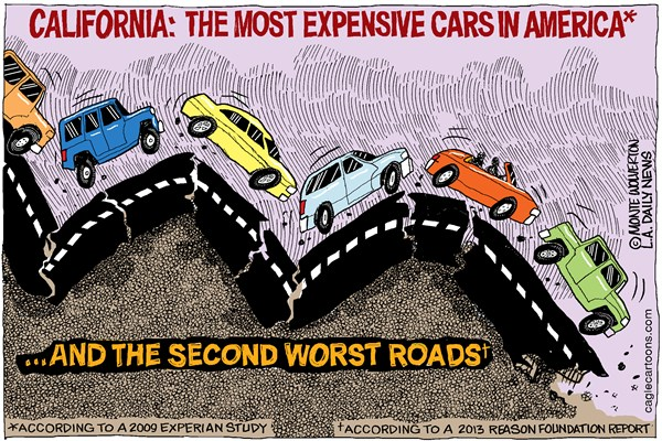 Wolverton - Cagle Cartoons - LOCAL-CA Coolest Cars Rotten Roads COLOR - English - CALTRANS, Roads, Calfoornia Roads, Gasoline Tax, Gas tax