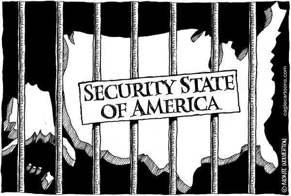 Wolverton - Cagle Cartoons - Security State of America - English - Security, NSA, Spying, surveillance, Obama