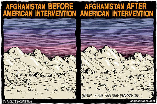 Wolverton - Cagle Cartoons - Afghanistan Same as it Ever Was COLOR - English - Afghanistan, Afghan war, Obama, Bush, Afghanistan War