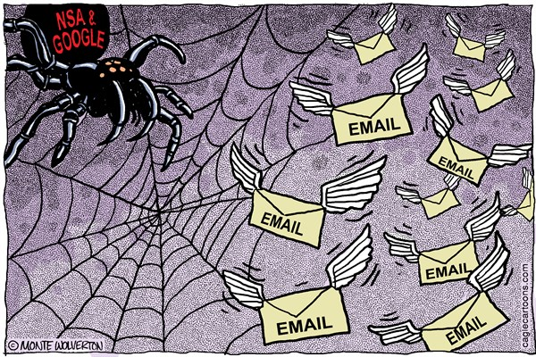 Wolverton - Cagle Cartoons - Google and NSA Email Harvest COLOR - English - NSA, Email, Spying, Confidentiality, Surveillance