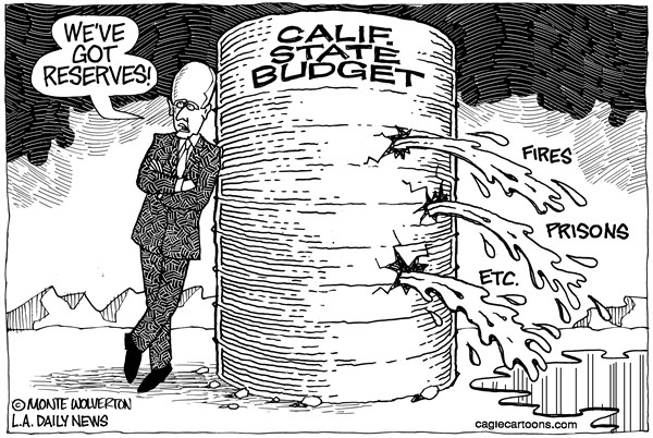 Wolverton - Cagle Cartoons - LOCAL-CA Leaking Budget Reserve - English - Brown, Jerry Brown, Budget, Reserve, Fires, Prisons