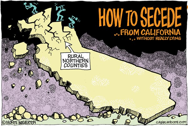 LOCAL CA Seceding From California © Wolverton,Cagle Cartoons,Siskiyou County, Secession, Seceding, Jefferson, State of Jefferson, Secede, Jefferson State, Norther California