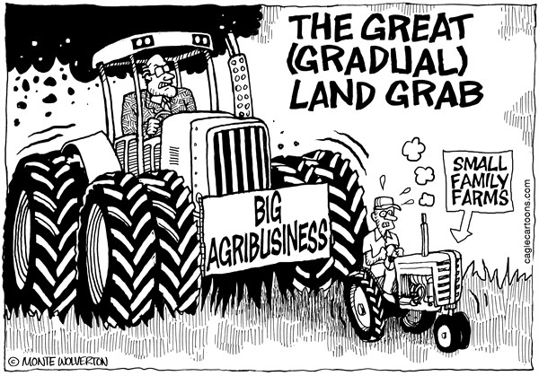 Wolverton - Cagle Cartoons - Big Agribusiness Land Grab - English - Agriculture, Farming, Farmers, Agribusiness, Monoculture, Land, Land reform