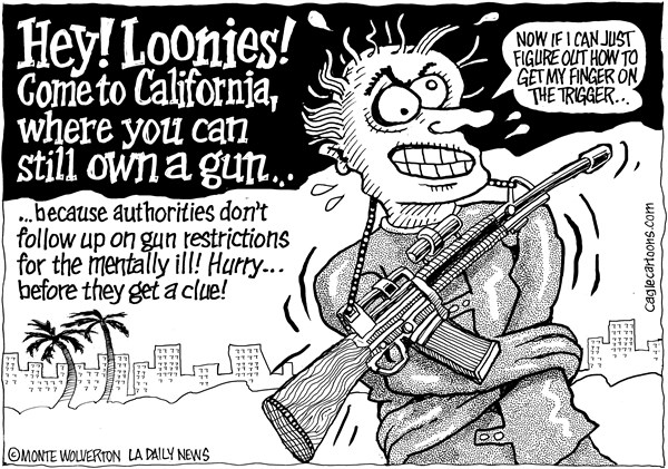 Wolverton - Cagle Cartoons - LOCAL-CA Mentally Ill with Guns - English - California, Guns, Firearms Mentally ill, Gun control