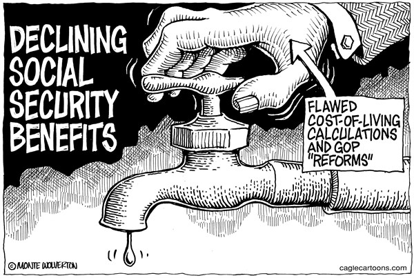Wolverton - Cagle Cartoons - Declining Social Security Benefits - English - Social Security, Cost of Living, COLA, Benefits, Congress,
