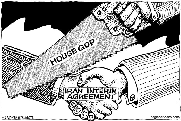 Wolverton - Cagle Cartoons - Iran Interim Agreement - English - Iran, Nukes, Nuclear, Agreement, Obama, GOP