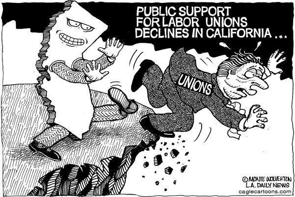 Wolverton - Cagle Cartoons - LOCAL-CA Calif Down on Unions - English - Labor Unions, Labor, California, Jobs, employment