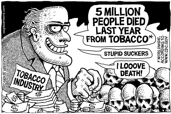 Wolverton - Cagle Cartoons - Tobacco Deaths 2013 - English - Smoking, Tobacco, Tobacco Companies