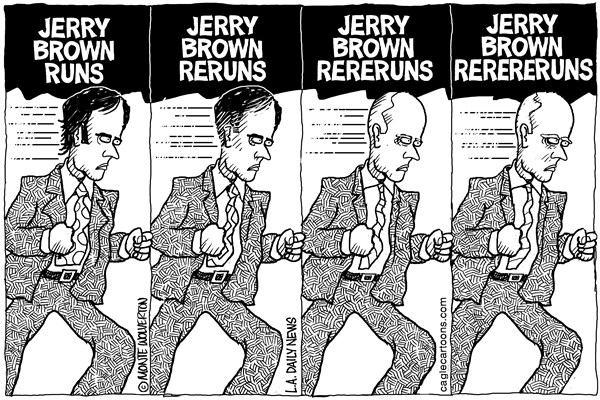 Wolverton - Cagle Cartoons - LOCAL-CA Jerry Brown Reruns - English - Jerry Brown, Governor, Election, Candidate, California