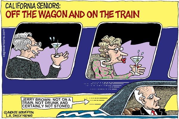 146101 600 LOCAL CA Old People on Bullet Train cartoons