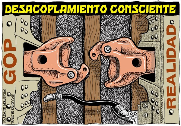 Wolverton - Cagle Cartoons - Desacoplamiento Consciente del GOP / COLOR - Spanish - Partido,Republicano,Partido,del,Te,Gwyneth,Paltrow,GOP