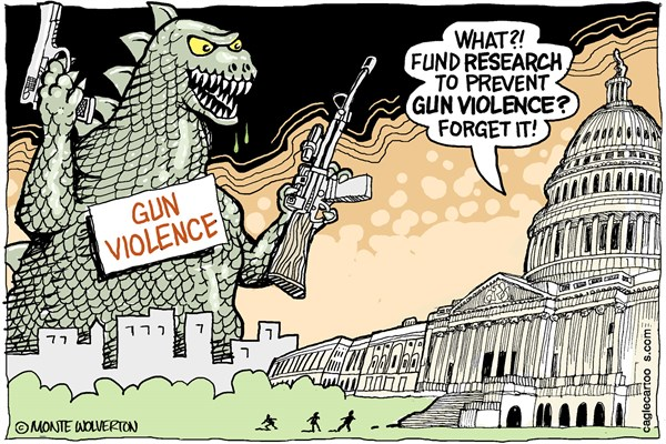 Wolverton - Cagle Cartoons - Research to Prevent Gun Violence COLOR - English - Firearms, Guns, NRA, Gun violence, Gun control