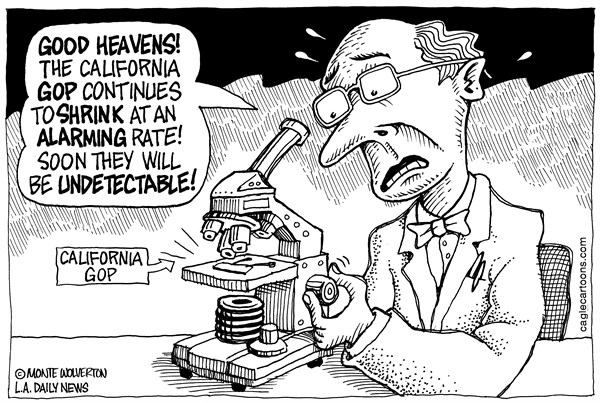 Wolverton - Cagle Cartoons - LOCAL-CA Shrinking Calif GOP - English - GOP, Republicans, California, Republican Party