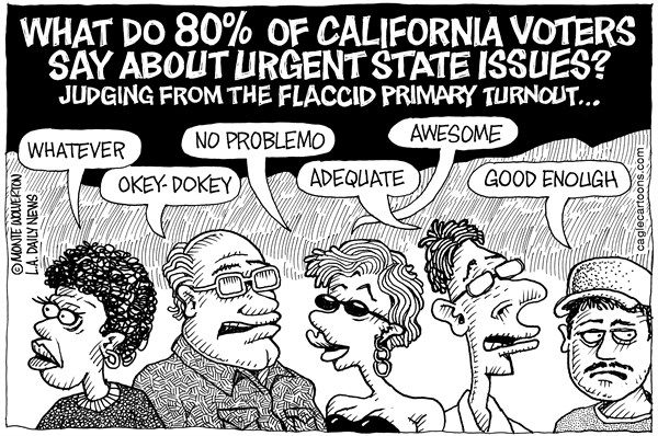 Wolverton - Cagle Cartoons - LOCAL-CA California Primary Turnout - English - Voters, Vote, Voting, Primary, Election