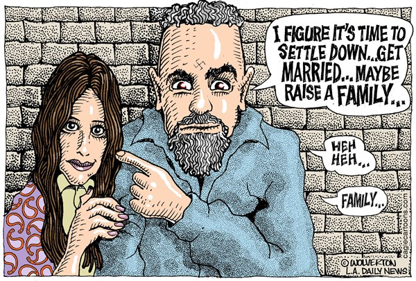 Manson Family Values © Wolverton,Cagle Cartoons,Charles Manson, Star, Manson, Manson marraige, Manson Wedding