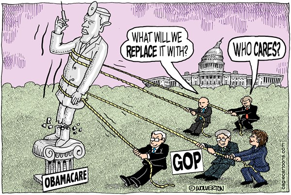 Wolverton - Cagle Cartoons - Toppling Obamacare - English - Affordable Care Act, ACA, Obamacare, GOP, Health Care