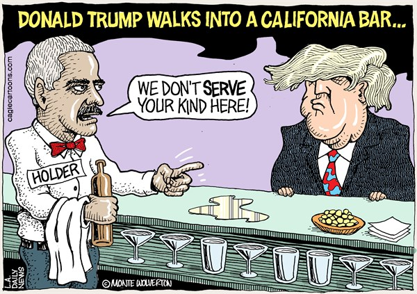 Wolverton - Cagle Cartoons - LOCALCA Holder Fights Trump in Calif - English - Eric Holder, Trump, California, Federal resistance, Legal Counsel, Holder