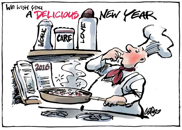 Jos Collignon - politicalcartoons.com - New Year wish - English - New Year