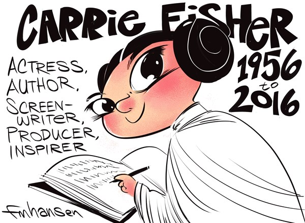 Frank Hansen - PoliticalCartoons.com - Carrie Fisher RIP - English - Carrie Fisher, Hollywood, acting, Debbie Reynolds, Star Wars, Princess Leia, Author, RIP