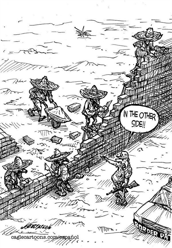 23428 600 Migratory workers in the wall cartoons
