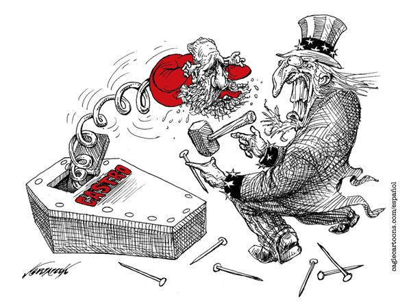 Antonio Neri Licón - El Economista, Mexico - Boo! -- COLOR - English - america, uncle sam, american, cuba, fidel, castro, ill, illnes, sick, alive, coffin, casket, leader, communism, communist, USA