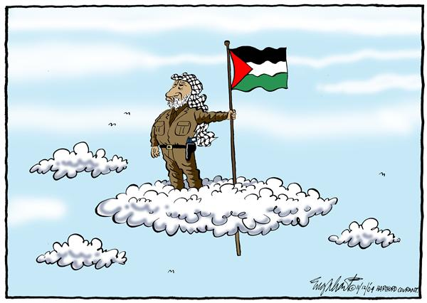 Bob Englehart - The Hartford Courant - Arafat Dies - English - Arafat, mideast, Yasser, Middle East, Palestine, dies, death, clouds, flag, terror, terrorism