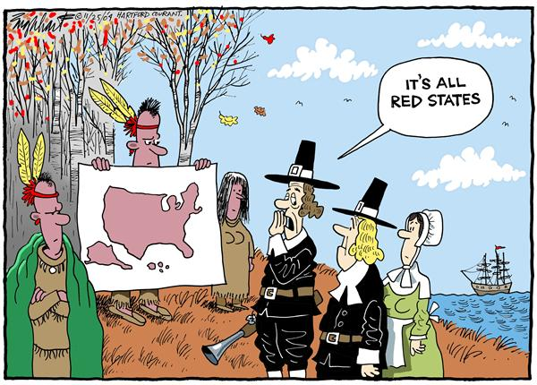 Bob Englehart - The Hartford Courant - Thanksgiving - English - thanksgiving, Indians, Native Americans, pilgrims, map, Americas, red, states, republican