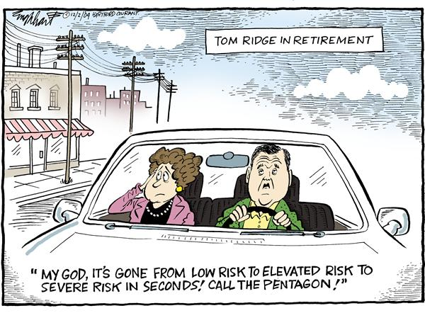 Bob Englehart - The Hartford Courant - Tom Ridge in Retirement - English - homeland, security, Tom, Ridge, retirement, secretary, low, risk, elevated, sever, seconds, call, pentagon, terror, terrorism