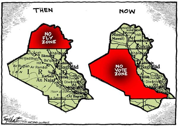 Bob Englehart - The Hartford Courant - Iraq Vote - English - Iraq, war, mideast, Middle East, vote, zone, fly, voting, elections, then, now, red, terror, terrorism