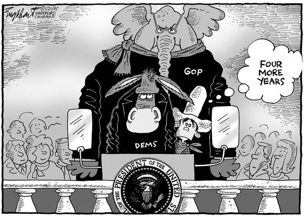 Bob Englehart - The Hartford Courant - Inauguration - English - Bush, second, term, President, White, House, GOP, Grand, Old, Party, Republicans, Democrats, donkey, elephant, cowboy, four, more, years, inauguration