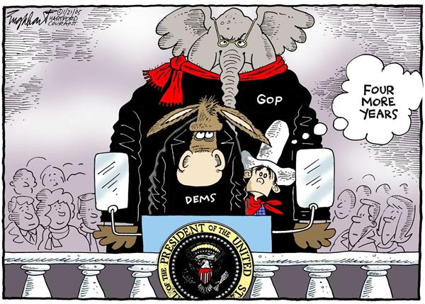 Bob Englehart - The Hartford Courant - Inuaguration - English - Bush, second, term, President, White, House, GOP, Grand, Old, Party, Republicans, Democrats, donkey, elephant, cowboy, four, more, years, inauguration