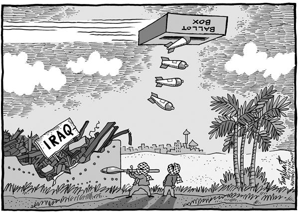 Bob Englehart - The Hartford Courant - Iraq Votes - English - Iraq, votes, democracy, war, voting, ballot, box, bombs, destroyed, explosion, broken, voting