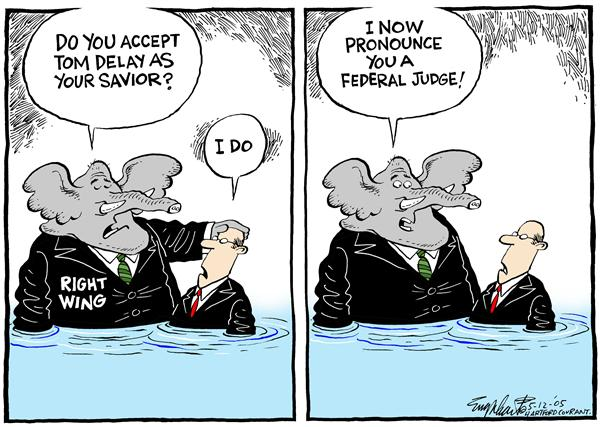 Bob Englehart - The Hartford Courant - Federal Judges - English - Tom, Delay, fillibuster, republicans, federal, judges, savior, pronounce, elephant, baptism, marriage, ceremony