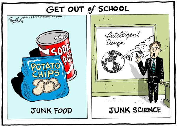 Bob Englehart - The Hartford Courant - School Pollution - English - diet, nutrition, religion, school, pollution, junk, food, science, intelligent, design, creation, evolution, religion, science, get, out, teacher, curriculum, health, obesity, pandemic, conflict
