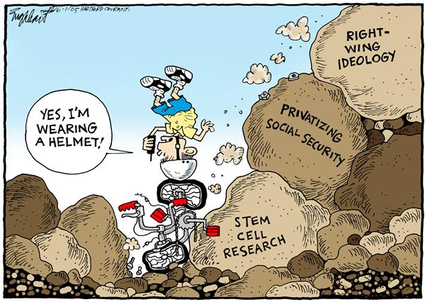 Bob Englehart - The Hartford Courant - Bush Goes Downhill - English - Bush, stem, cells, social, security, religion, research, President, goes, downhill, biking, wearing, helmet, cell, phone, privatizing, right-wing, ideology, crash, fall